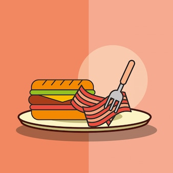 Fast food burger and bacon with fork in dish