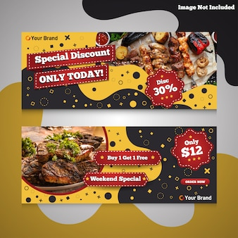 Fast food burger and barbecue promotional discount banner