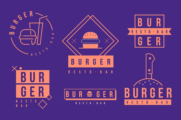 Fast food burger company logo template