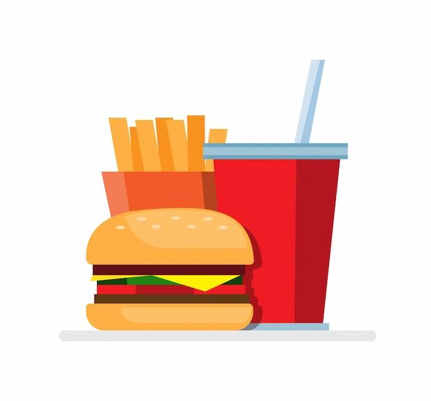 Fast food, burger fries and soft drink, set menu food flat illustration