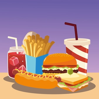 Fast food burger hot dog sandwich french fries and soda vector illustration