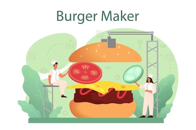 패스트 푸드, 버거 하우스 개념. 요리사는 맛있는 롤빵 사이에 치즈, 토마토 및 쇠고기와 함께 맛있는 햄버거를 요리합니다. 패스트 푸드 레스토랑.