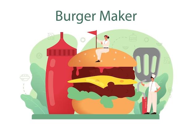 패스트 푸드, 햄버거 하우스 개념 그림
