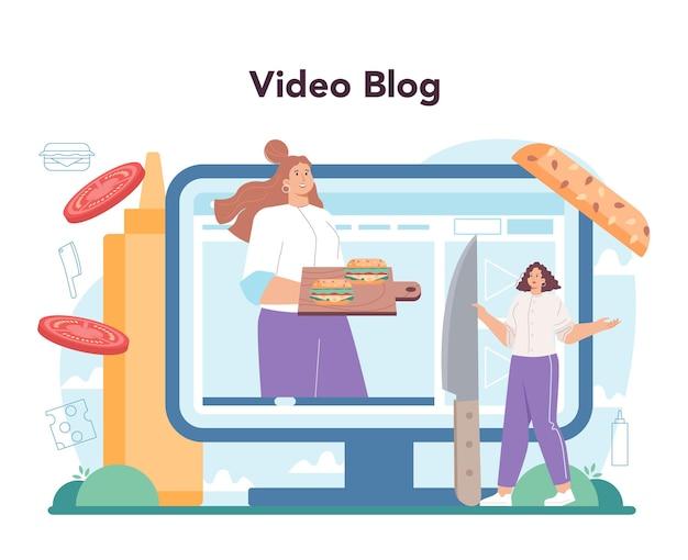 패스트 푸드, 버거 하우스 온라인 서비스 또는 플랫폼. 요리사는 롤빵 사이에 치즈, 토마토, 쇠고기와 함께 맛있는 햄버거를 요리합니다. 비디오 블로그. 평면 벡터 일러스트 레이 션