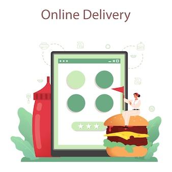 패스트 푸드, 버거 하우스 온라인 서비스 또는 플랫폼. 맛있는 햄버거를 요리하는 요리사. 패스트 푸드 레스토랑 배달.