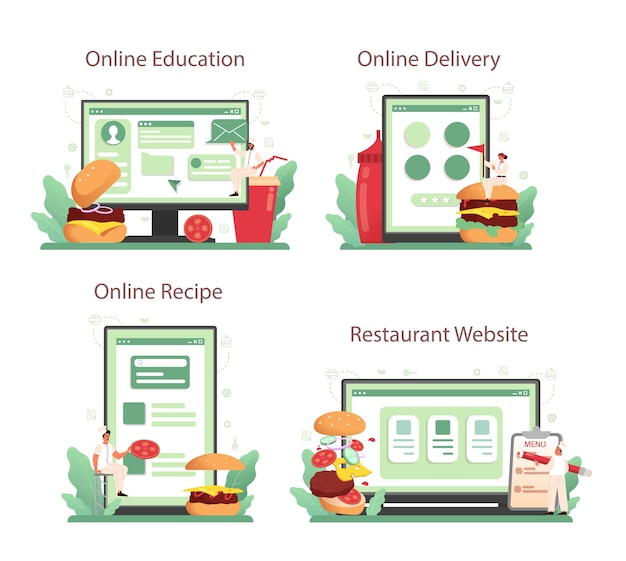 패스트 푸드, 버거 하우스 온라인 서비스 또는 플랫폼 세트.