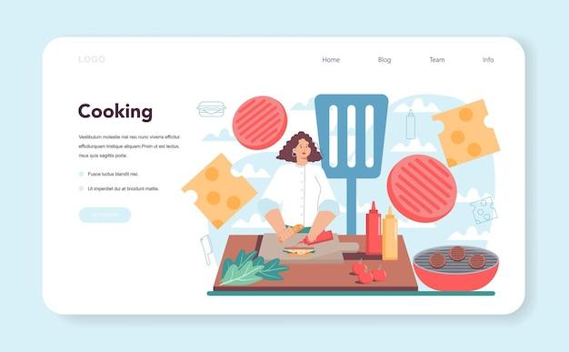 ファーストフード、ハンバーガーハウスのウェブバナーまたはランディングページ。シェフは、おいしいパンの間にチーズ、トマト、牛肉を入れておいしいハンバーガーを調理します。ファストフードレストラン。分離されたフラットベクトル図