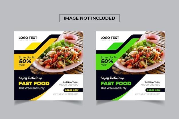 Fast food  burger menu social media banner template