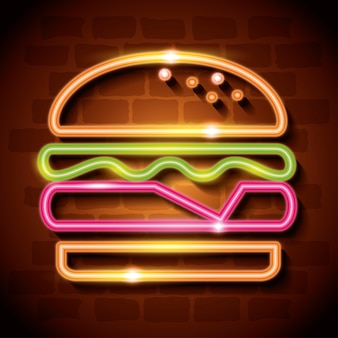 Fast food burger neon label