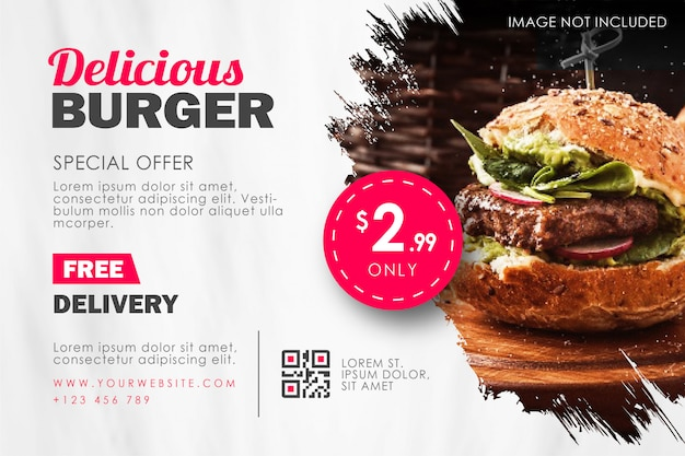Fast food burger restaurant flyer template