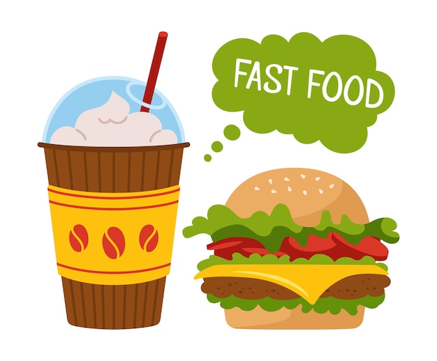 Fast food burger and soda takeaway doodle cartoon set