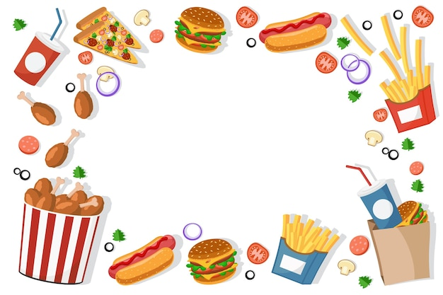 Fast food burgers, fries, hot dogs frame background