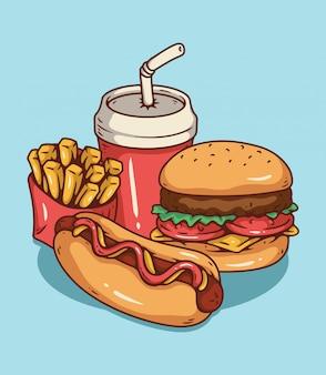 패스트 푸드. 햄버거, 핫도그, 감자 튀김 및 음료 프리미엄 벡터
