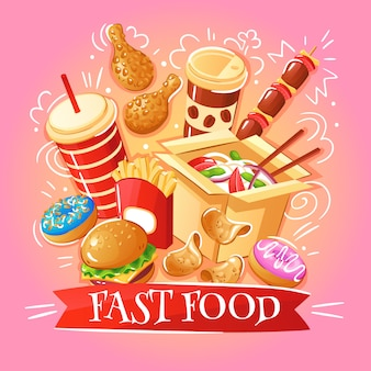Fast food burgers noodles chicken chips desserts drinks illustration