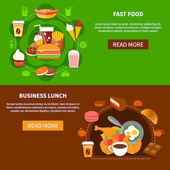 Fast food business lunch flat banners