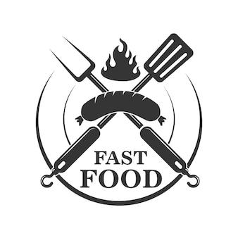 Fast food cafe emblem template. crossed fork and kitchen spatula with sausage.  element for logo, label,sign.  illustration