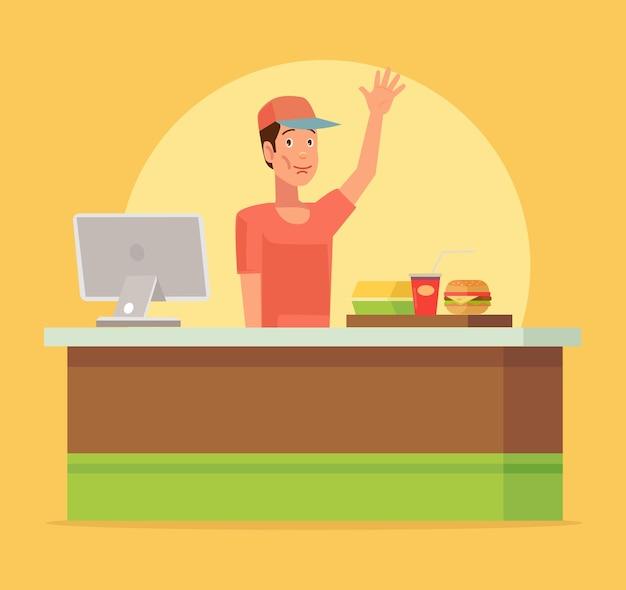 Кафе быстрого питания. счастливый кассир человек персонаж.