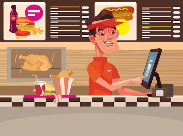 ファーストフードカフェ。幸せな笑顔のレジ係の男のキャラクター。ベクトルフラット漫画イラスト