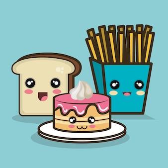 패스트 푸드 만화 케이크 빵과 감자 튀김 디자인