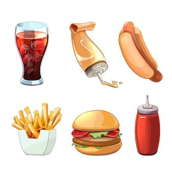 ファーストフードの漫画のクリップアートセット。ホットドッグとハンバーガー、飲み物、ハンバーガー、サンドイッチスナック