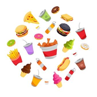 Fast food cartoon color illustration