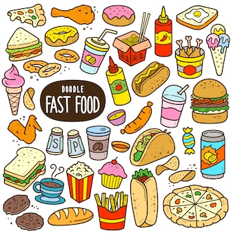 Fast food cartoon color illustration