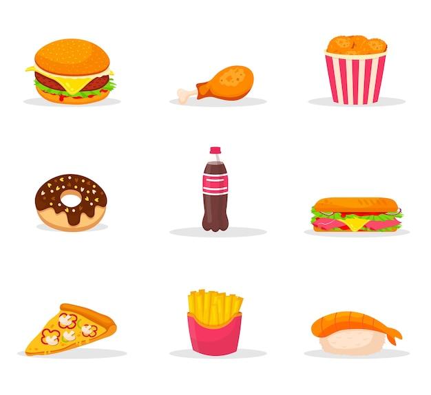 ファーストフード漫画カラーイラストセット。スナック、ジャンクフードの色のクリップアートパック。ビストロメニューの要素。カフェとピッツェリアの品揃え。ハンバーガー、フライドポテト、ホットドッグ、寿司、ソーダ
