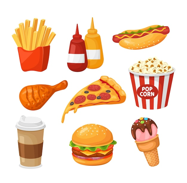 Fast food cartoon french fries ketchup hot dog chicken pizza coffee burger popcorn ice cream