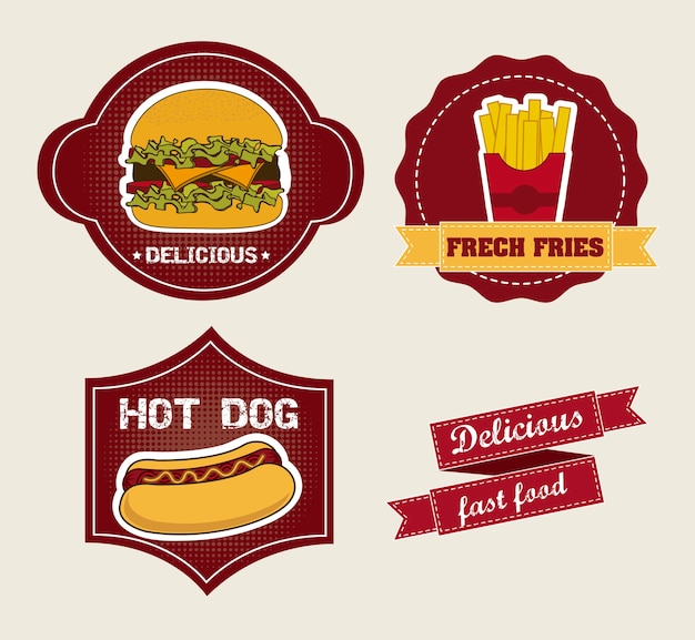 Fast food cartoons over labels background