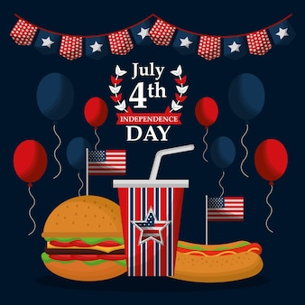 Fast food celebration 4 july american independence day