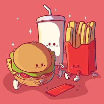 패스트 푸드 캐릭터. 음식, 건강, 다이어트 디자인 컨셉