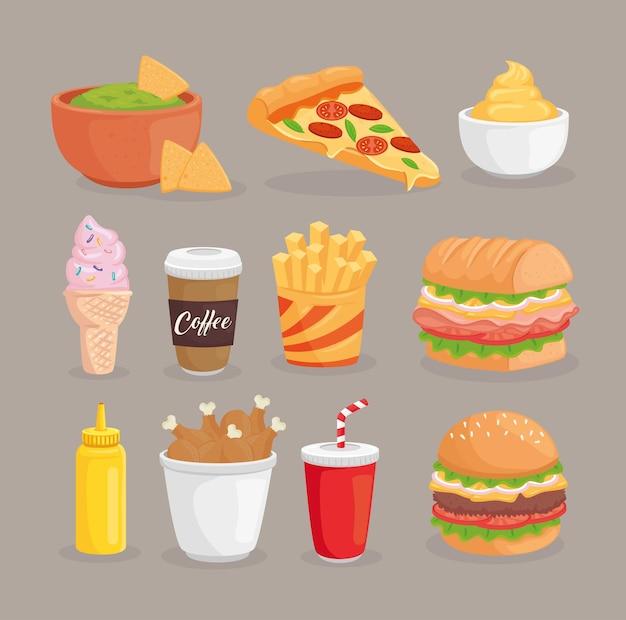 Иллюстрация коллекции быстрого питания