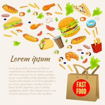 Fast food colorful design