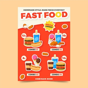 Modello di poster di fast food combo pasti