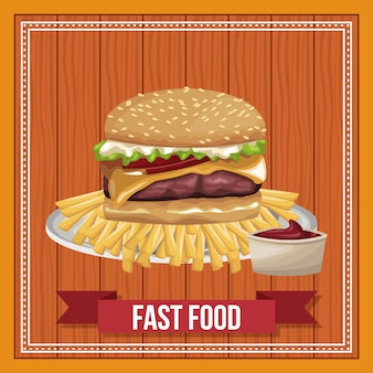 Fast food combo with ribbon banner over wooden background