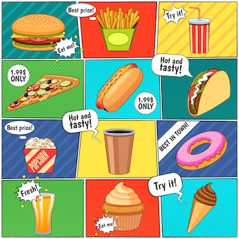 Fast food comic panels composition page with speech balloons and colorful backgrounds