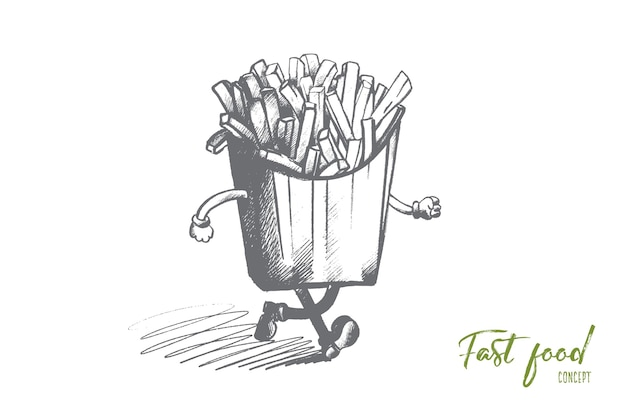 Fast food concept. hand drawn french fries in a paper wrapper with hands and legs. fried potatoes isolated illustration.