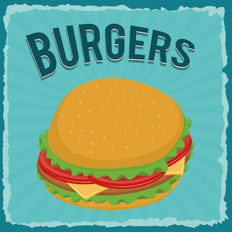 Fast food concept represented by hamburger icon