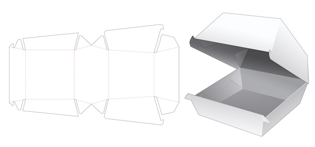Fast food container box die cut template