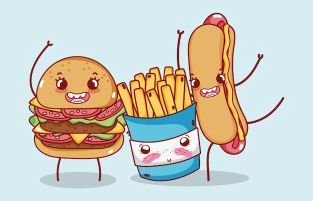 ファーストフードかわいいバーガーフライドポテトとホットドッグ漫画