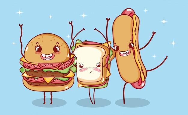 ファーストフードかわいいバーガーサンドイッチとホットドッグ漫画