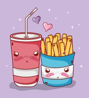 패스트 푸드 귀여운 감자 튀김과 플라스틱 컵 소다 밀짚 사랑 만화