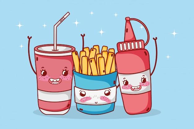 패스트 푸드 귀여운 감자 튀김 소스와 플라스틱 컵 만화