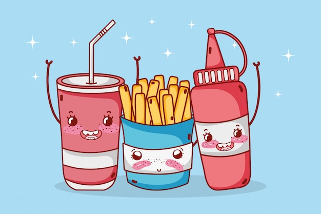 Fast food cute french fries sauce and plastic cup cartoon