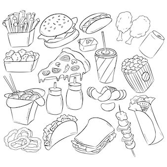 Fast food decorative seamless pattern