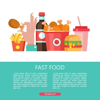 Fast food. delicious food. vector illustration in flat style. a set of popular fast food dishes. hamburger, drink, milkshake, french fries, bucket of fried chicken legs.