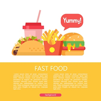 Fast food. delicious food. vector illustration in flat style. a set of popular fast food dishes. tacos, french fries, hamburger and milkshake. illustration with space for text.