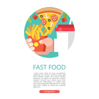 Fast food delicious food vector illustration in flat style