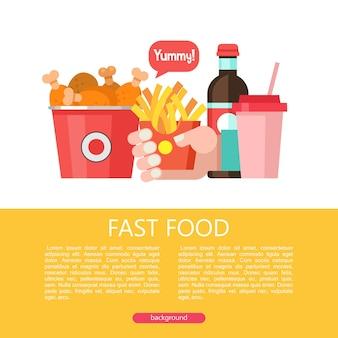 Быстрое питание. вкусная еда. векторная иллюстрация в плоском стиле. набор популярных блюд быстрого питания. ведро с жареными куриными ножками, картофелем фри, напитком и молочным коктейлем.
