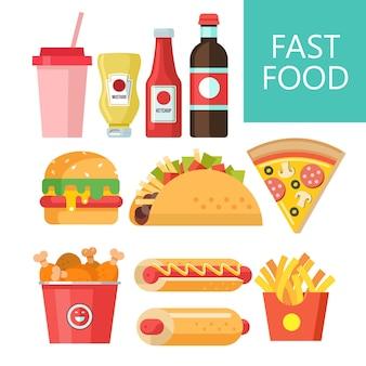 Быстрое питание. вкусная еда. векторная иллюстрация в плоском стиле. набор популярных блюд быстрого питания. хот-дог, гамбургер, тако, колбаса, пицца, жареный цыпленок. горчица и кетчуп. выпейте и взбейте молочный коктейль.